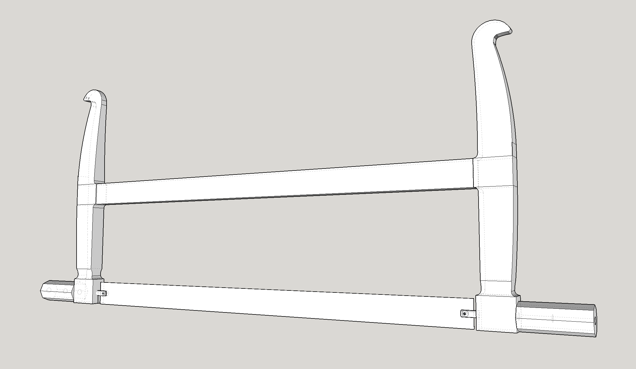 A sketchup 3D rendering of the frame saw.