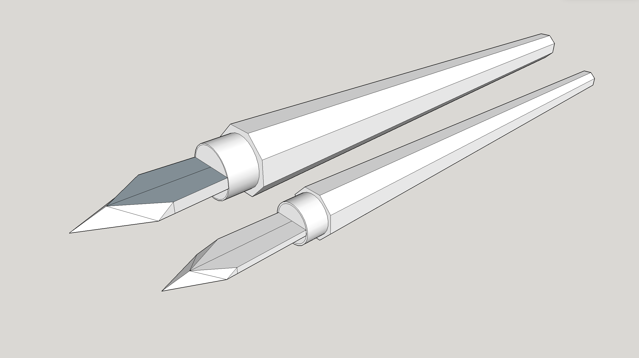 A sketchup 3D rendering of the knives.